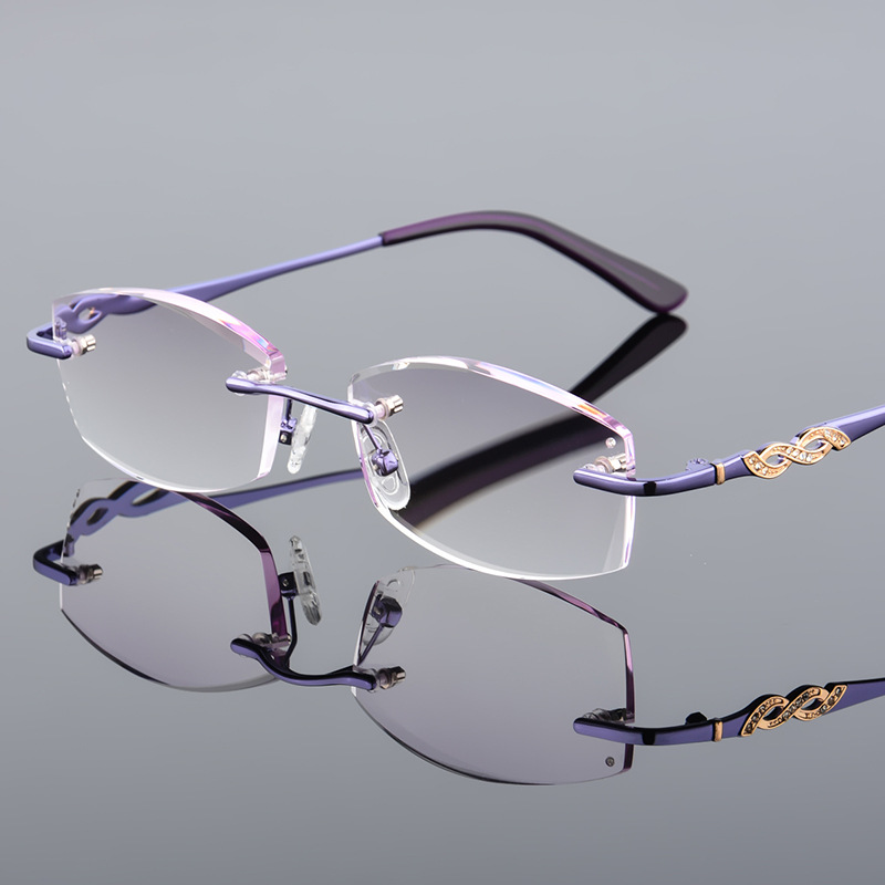 Luxurious Fashion Women Rhinestone Rimless Reading Glasses High Clear Woman Purple Readers Presbyopic Eye Glasses +1 +1.5~+4.0