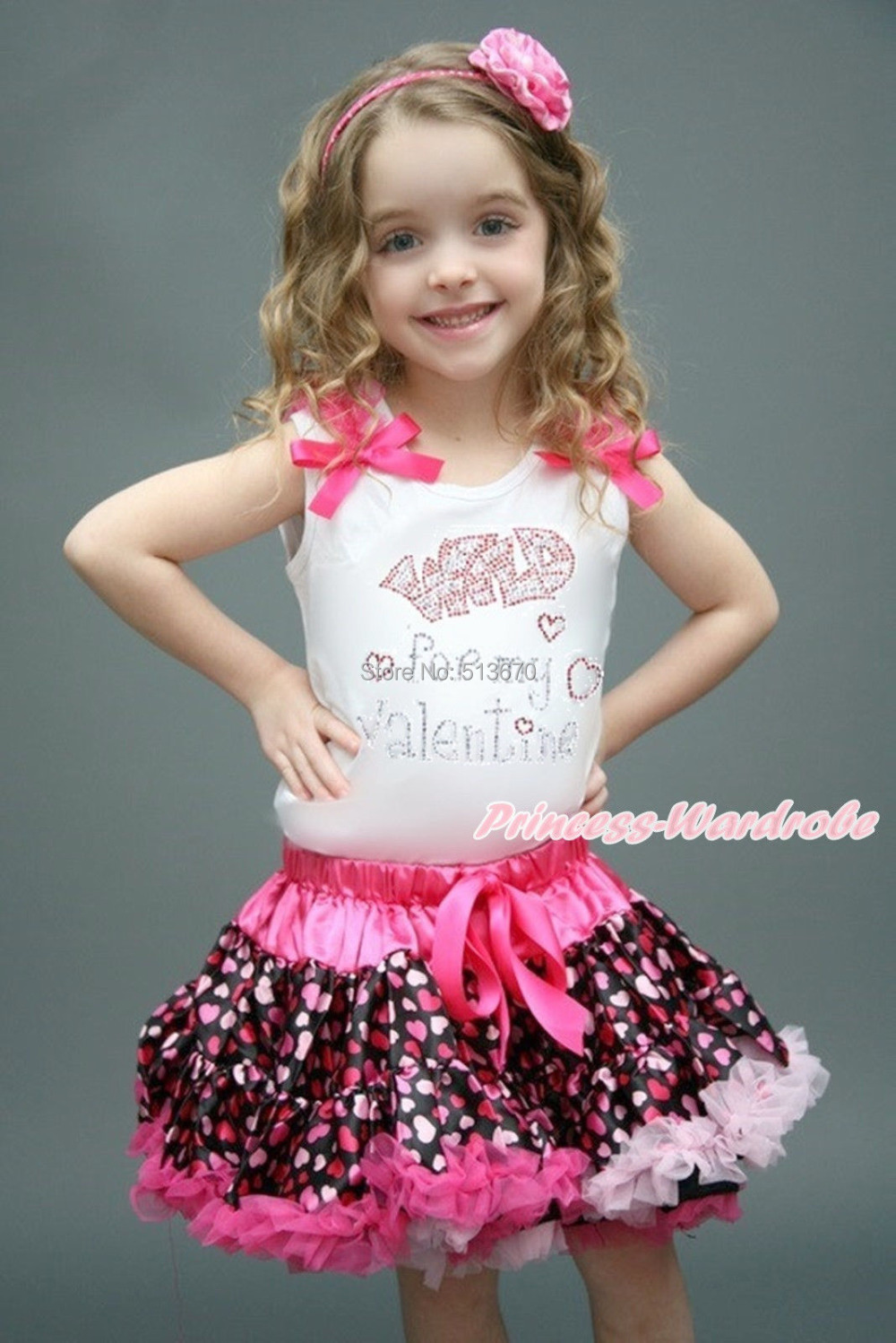 White Pettitop Sparkle Rhinestone Wild Valentine Hot Pink Heart Pettiskirt 1-8Y MAPSA0162 cd stevie nicks the wild heart