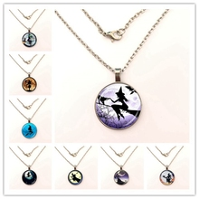 Купить с кэшбэком Sexy Witch with Broom Full Moon necklace Wiccan Pagan Jewelry Glass Cabochon Sweater Pendant necklace Cat Jewellery gift