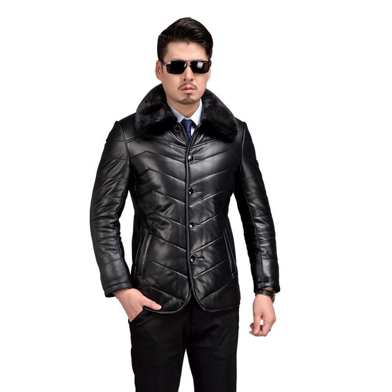 AIBIANOCEL Brand Genuine Leather Coat Men font b Winter b font Warm Shearling Sheepskin font b