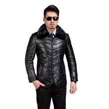 AIBIANOCEL Brand Genuine Leather Coat Men Winter Warm Shearling Sheepskin Jacket Mink Collar Mens Pure Leather Jackets 58370