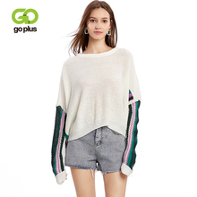 GOPLUS 2019 Batwing Sleeve Thin Knitted Women Pullovers Striped Patchwork O Neck Sweater Ladies Befree Casual Blouse Female Top striped batwing sleeve blouse
