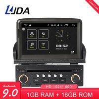 LJDA 2 din 7 inch Android 9.0 Car DVD Player for Peugeot 307 2007 2011 GPS Navigation Bluetooth USB Multimedia Free Map FM Radio