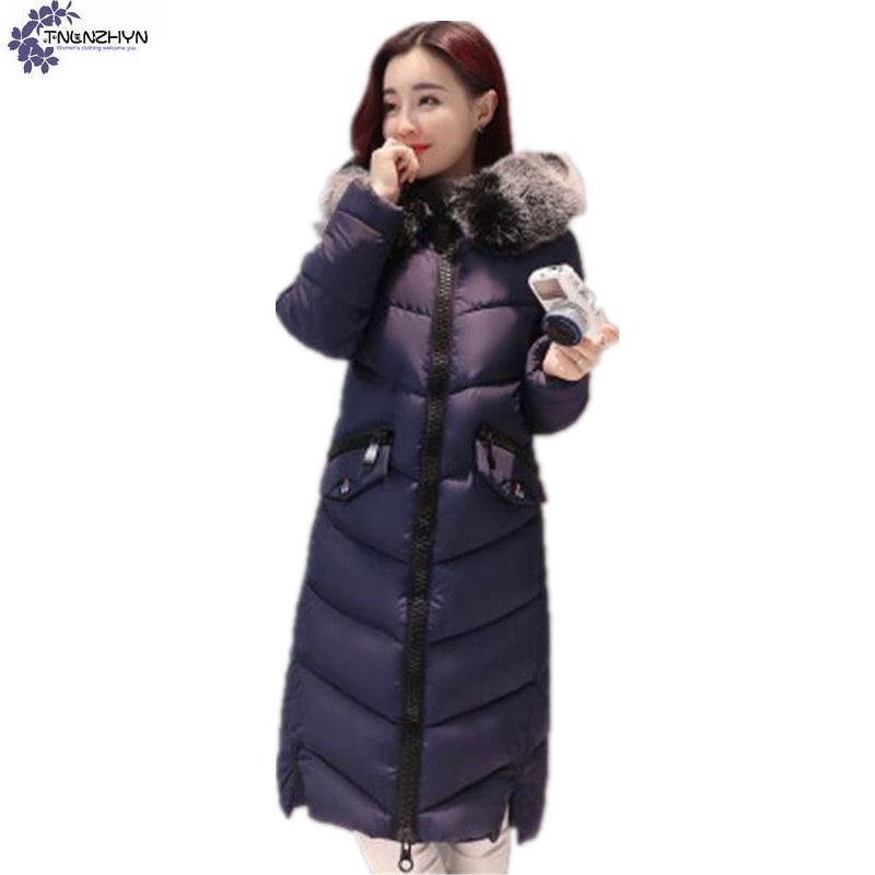 TNLNZHYN winter new Women cotton coat fashion leisure thickening warm hooded fur collar large size female cotton Outerwear TT812 olgitum 2017 women vest jackets new fashion thickening solid casual cotton fashion hooded outerwear