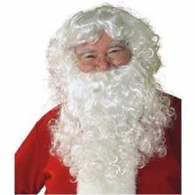 Высокое Качество Фестиваль Опора вентиляторы вьющиеся парики Косплей белая борода Рождественский парик Санта Клауса+ усы+ парик колпачок