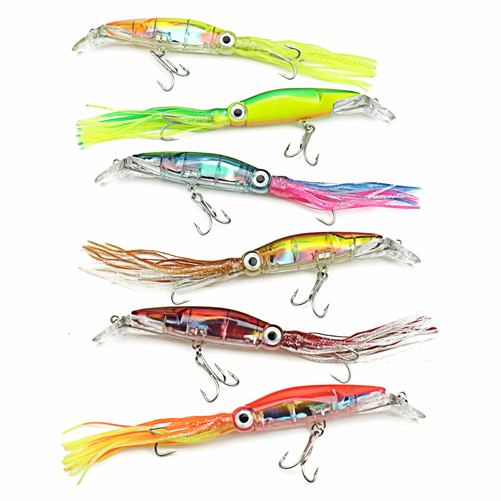 6 Pieces Big Size Hard Fishing Lure Fish Bait 24cm/40g Fishing Tackle 6 Color Available Squid Lure Fishing Bait sweet home decor squarer ocean weave pattern pillow case