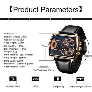 Image 3 - 6,11 мужские часы DUANTAI с кожаным ремешком, квадратные Кварцевые водонепроницаемые мужские часы из натуральной кожи, синие повседневные часы Reloj Hombre