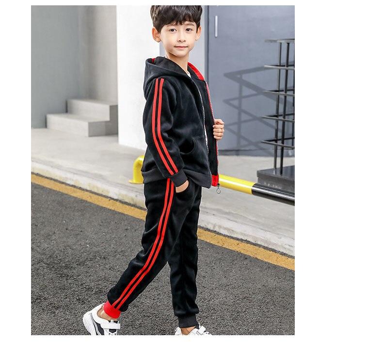 51a97ae41ba61 Kadife patchwork çocuk giyim setleri boys 2 adet kapşonlu polar fermuar  mont ve sıcak pantolon çocuk spor takım elbise erkek eşofman giysileri4 5 6  7 8 9 10 ...