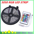RGB Led Strip 5050 5M 300LEDS SMD5050 Nonwaterproof Tape with Mini 24Key Remote controller RGB LED Strip Light Free Shipping