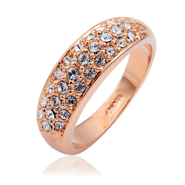 Wedding Bands Bague For Women Rose Gold Color Brilliant Clear Crystal Feminine Engagement Ring Size