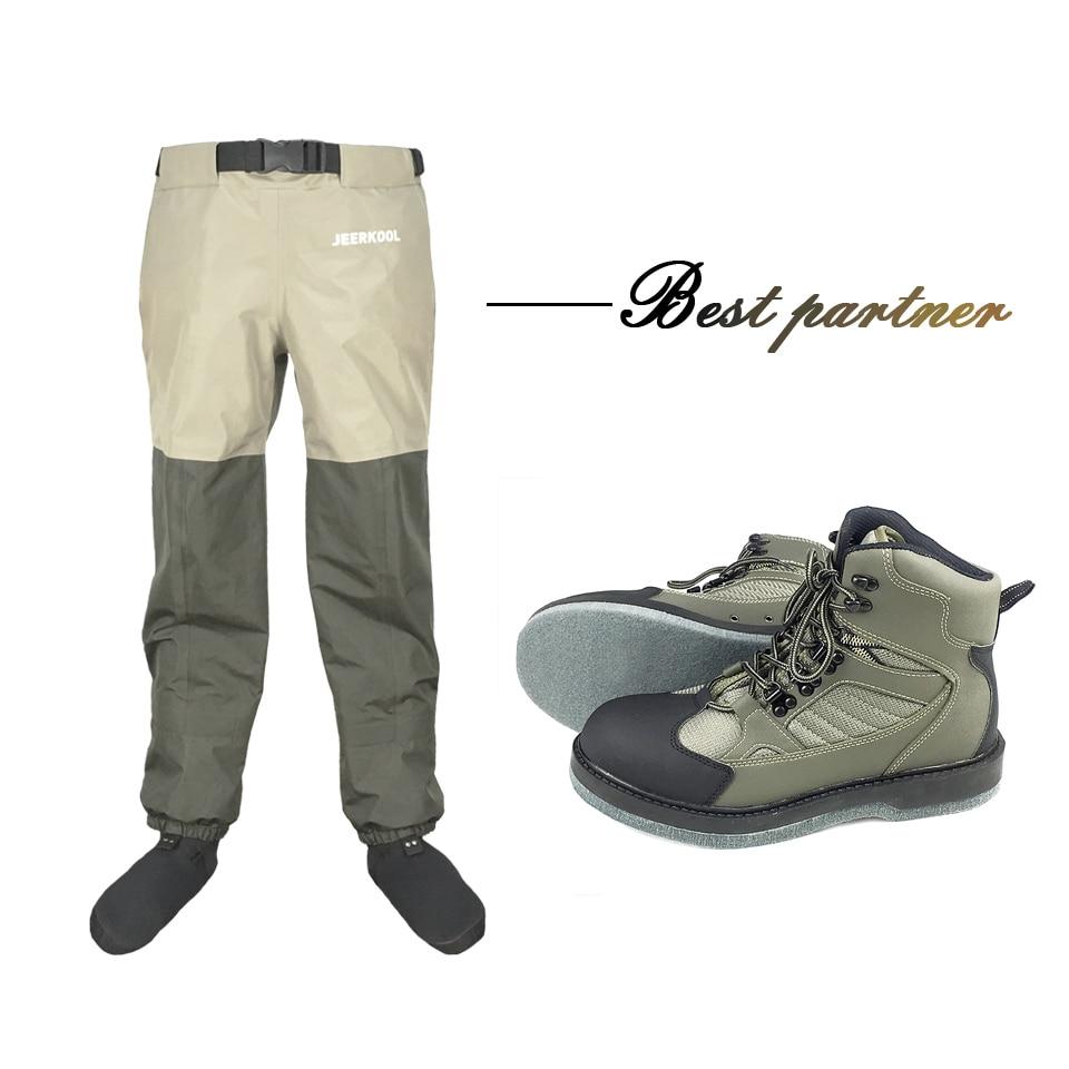 Pêche à la mouche Wading chaussures & taille pantalon Aqua Sneakers ensemble de vêtements respirant en amont Waders feutre semelle bottes chasse No-slip