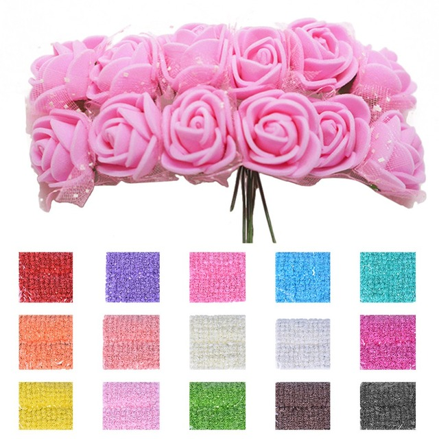 144pcs Mini Foam Rose Artificial Flower Bouquet Multicolor Rose Wedding Flower Party Decoration Scrapbooking Fake Rose Flower
