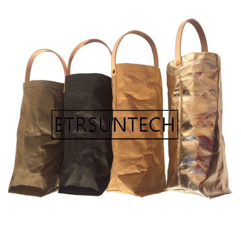 20pcs Nordic Style Wine Bag Reusable Washed Kraft Paper Wine Bags Champagne Bottle Carrier Washable Kraft