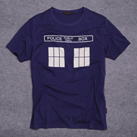 100% Cotton Police Box Doctor Who Mens T Shirts Adult Shirt Cool Style Short Sleeve T-shirt Men Clothing Top Tees for Summer