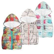 Зимняя одежда Теплый жилет без рукавов с капюшоном и рисунком кота для маленьких мальчиков и девочек