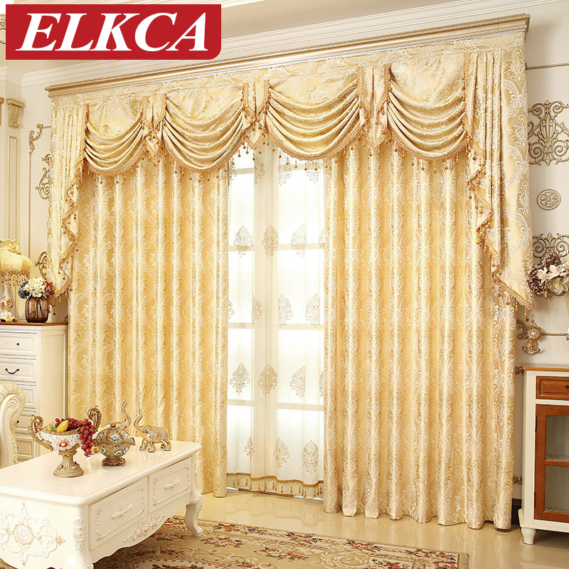 Elegant Kitchen Curtains Valances: European Golden Royal Luxury Curtains For Bedroom Window