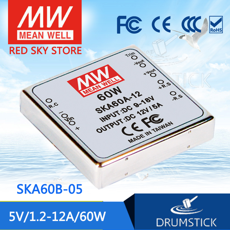 цена на Hot sale MEAN WELL SKA60B-05 5V 7A meanwell SKA60 5V 60W DC-DC Regulated Single Output Converter