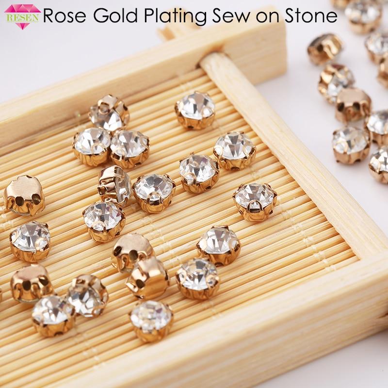 Ресен 6 мм 100 шт. пришить коготь горный хрусталь розовое золото базы Стекло швейной фурнитуры Stones 3D Швейные избежать царапин свадебное платье
