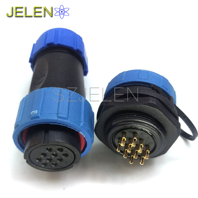 SP2110 S waterproof connector 10 pin plug socket Electronic panels installed 10 pin connector LED male