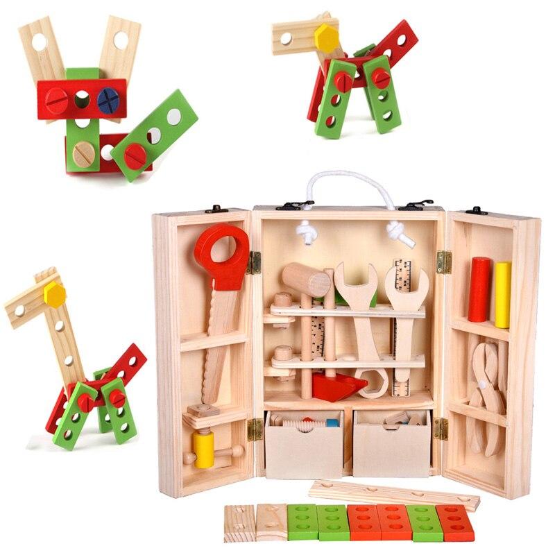 Garçons en bois multifonctions outils de réparation ensembles enfant semblant jouer outil Construction Maintenance outil Kit enfant jouet menuiserie outils