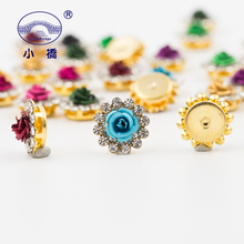 Gouden Bodem Crystal Rhinestone Met Klauw Mix Kleur Bloem Naaien Steentjes Bridal Glas Stenen Voor Kleding Decoratie S136