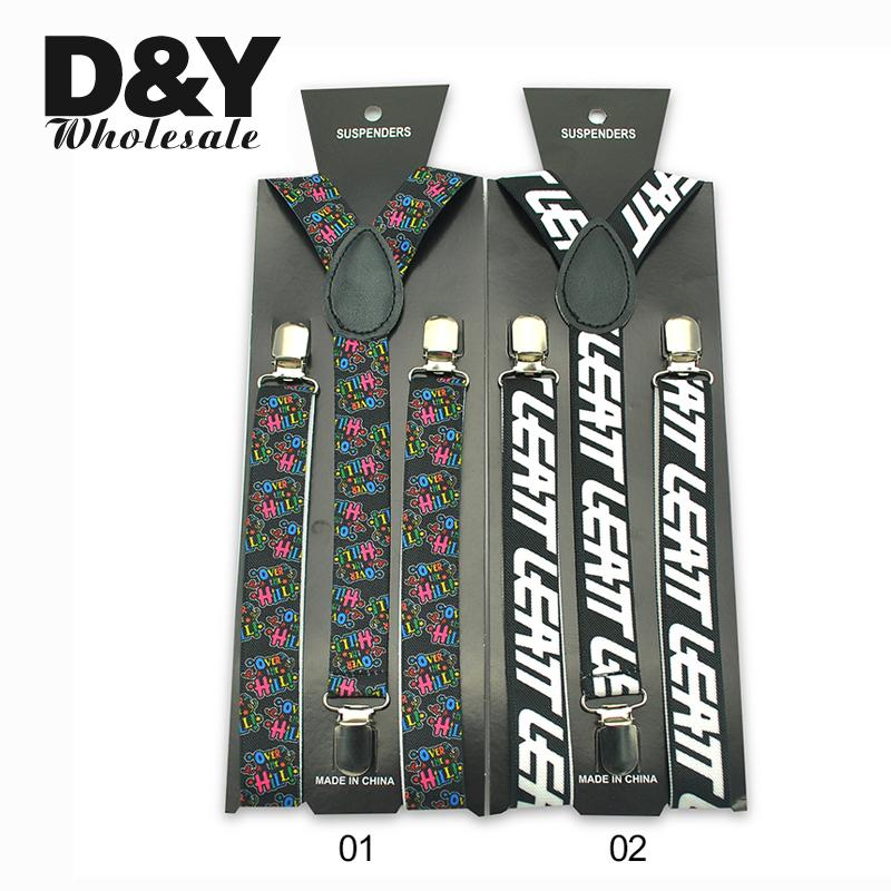 Women Men Unisex Suspenders Braces White Letters Colorful Letters Suspenders Y-shaped Clip On Suspender Elastic Braces Gallus