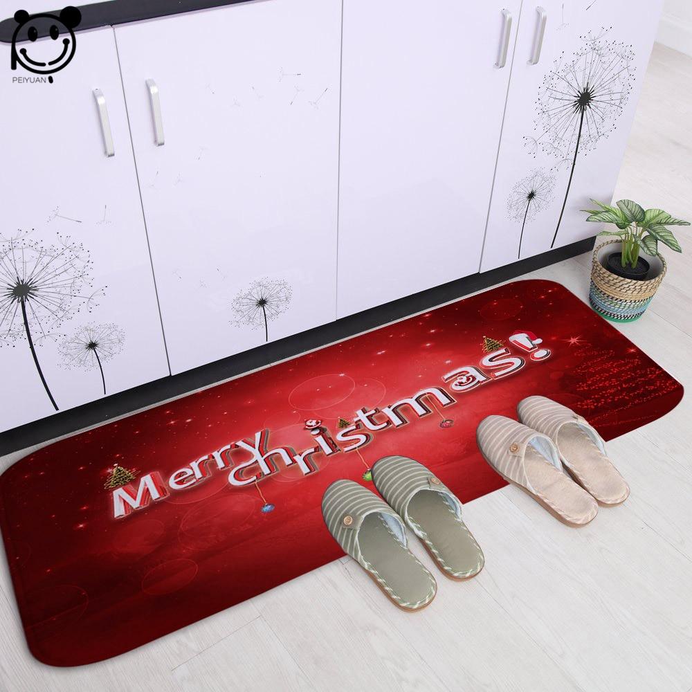 PEIYAUN Cartoon rouge et bleu joyeux noël lettre douce flanelle porte tapis usine sur mesure tapis de sol tapis pour couloir