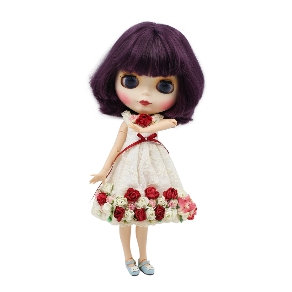 blyth doll joint body purple short hair factory BL135 natural skin for girl present DIY