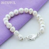 Trendy 925 srebrny kolor bransoletki zapięcie z 8mm biały naturalne perły Plated srebrny bransoletki 20cm perła biżuteria