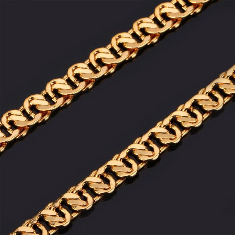 HTB1aTimGVXXXXcpaXXXq6xXFXXXy - U7 Unique Necklace Trendy Gold/Silver Color Chain Necklaces Men Jewelry N377