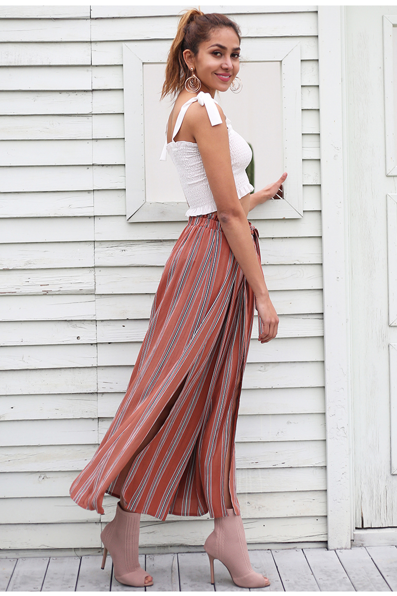 Simplee High split stripe wide leg pants women Summer beach high waist trousers Chic streetwear sash casual pants capris female 5
