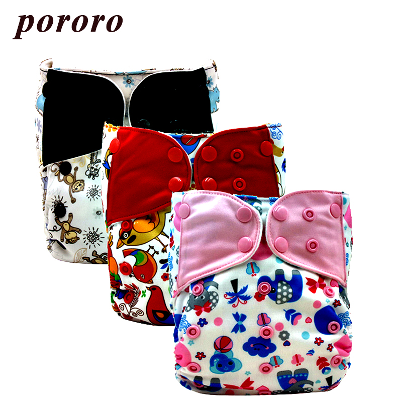 [Pororo] 2017 Reusable Spell Color Ear Cloth Diaper Cover PUL Waterproof Cover Digital Printed Baby Cloth Diapers