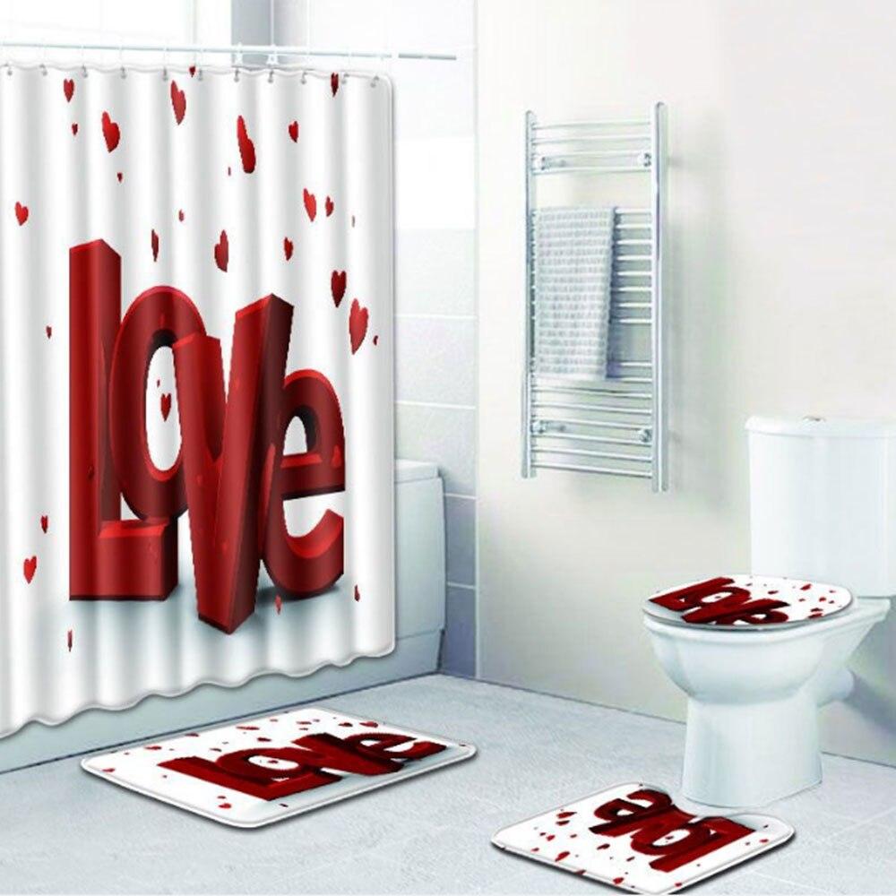 Шторы коврик для ванной комнаты красивый полиэстер 4 шт./компл. любовь Свадебная дорожка зимняя крышка для унитаза противоскользящая Прямая - Цвет: 4