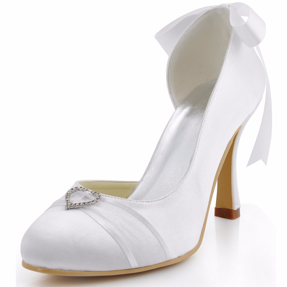 A0617-C White Ivory Bride Round Toe 3 High Heel Pumps Rhinestones Bowtie Satin Women Bridesmaids Wedding Bridal Dress Shoes hp1544i white ivory peep toe women wedding pumps ankle strap crystal buckle bride bridesmaids high heel satin bridal prom shoes