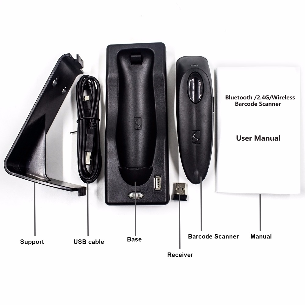 2D Bluetooth Wireless Barcode Scanner,Symcode USB 2.4G Wireless Bluetooth Barcode Reader with Charge Base 11