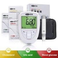 Cofoe 3 в 1 Набор для тестирования холестерина и мочевой кислоты и глюкозы в крови Glm метр медицинский мониторинг системы здравоохранения для д...