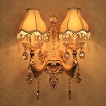 Altın duvar aplik dekorasyon Vintage kristal duvar ışık yüzeyi monte kristal duvar yatak odası için lamba ışıkları aplik banyo lambası