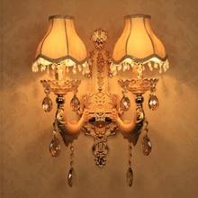 Ouro Decoração Vintage Cristal lâmpada de Parede Arandela Luz de Superfície Montado Lâmpada de Parede de Cristal para Luzes Do Quarto Tecido Lâmpada Tons arandela decoração iluminação luminaria de parede luminárias