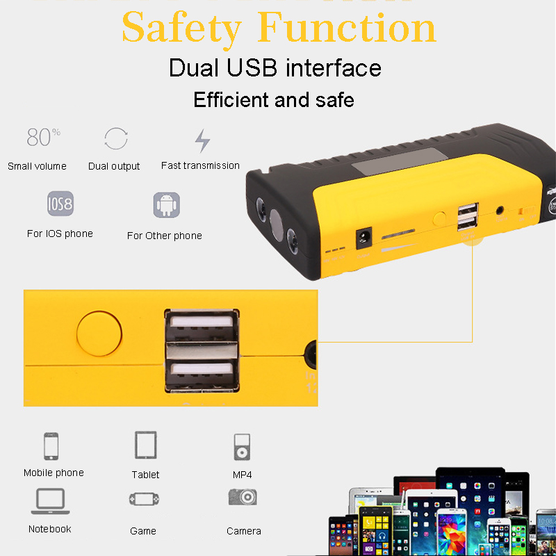 Portable 68800mAH 12V Emergency Starting Device Multi Function Car Booster Jump Starter Power Bank With USB Charger Led Light in Jump Starter from Automobiles Motorcycles