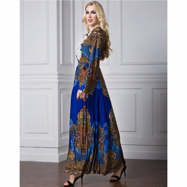 Islamic Abaya Dress Muslim Women Dress Long Sleeve Abaya Clothing Robe Kaftan Style Silk Lace 1