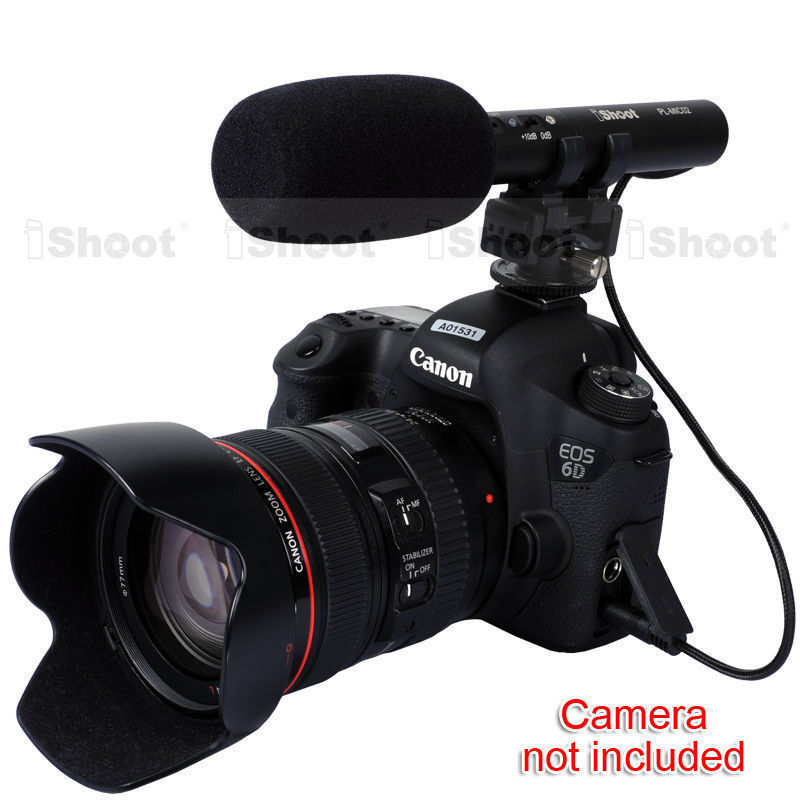 MIC DC/DV Stereo Microphone for Canon EOS 5D Mark III/5D Mark II/7D/6D 70D/60D/760D,750D,700D/650D/600D/100D EOS-M