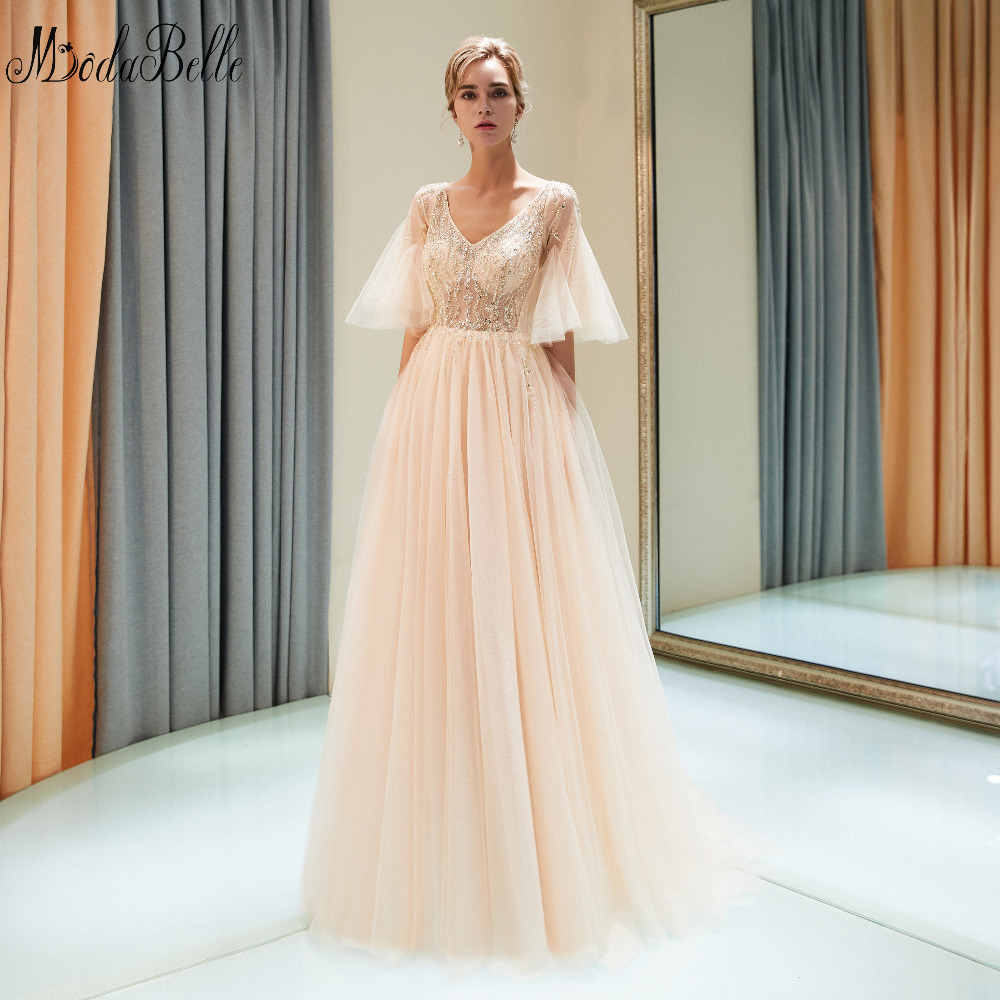 modabelle Champagne Evening Dresses Lange Jurk Side Slit Light Gray ...