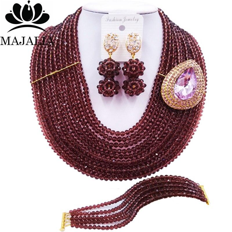 Majalia Fashion Nigeria Wedding African Beads Jewelry Set Dark purple Crystal Necklace Bridal Jewelry Sets Free Shipping 10MK010Majalia Fashion Nigeria Wedding African Beads Jewelry Set Dark purple Crystal Necklace Bridal Jewelry Sets Free Shipping 10MK010