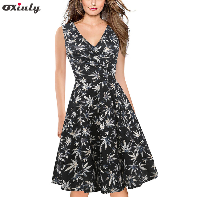 c54d071c8ce Oxiuly Women Summer Sleeveless Sexy Deep V Neck Black Flower Print Pleated  Beach Dress Tunic Party Fit and Flare A-Line Dress