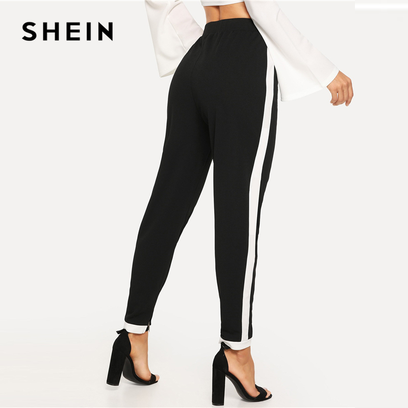 SHEIN Black Morden Lady Contrast Trim Split Hem Elastic Waist Mid Waist Carrot Pants 2018 Autumn Casual Workwear Trousers 2