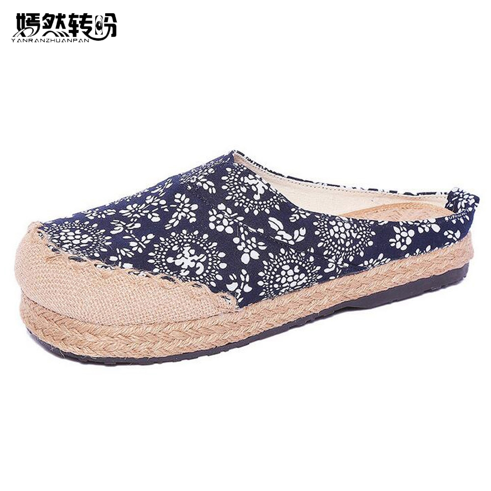 Women Linen Slippers Chinese Vintage Soft Flats Casual Slip On Round Toe Cotton Canvas Fabric Shoes Woman Plus Size 44 2017 new women flower flats slip on cotton fabric casual shoes comfortable round toe student flat shoes woman plus size 2812w page 2