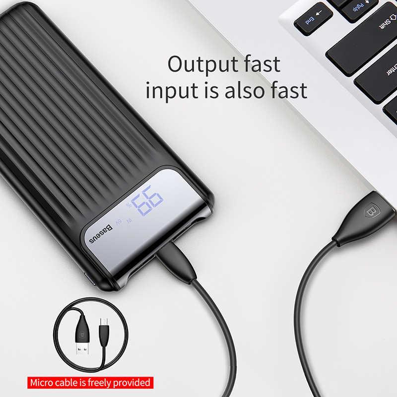 Baseus 10000mAh LCD podwójne szybkie ładowanie usb 3.0 Power Bank dla iPhone XS Max 8 7 6 Samsung Xiaomi QC3.0 Powerbank ładowarka