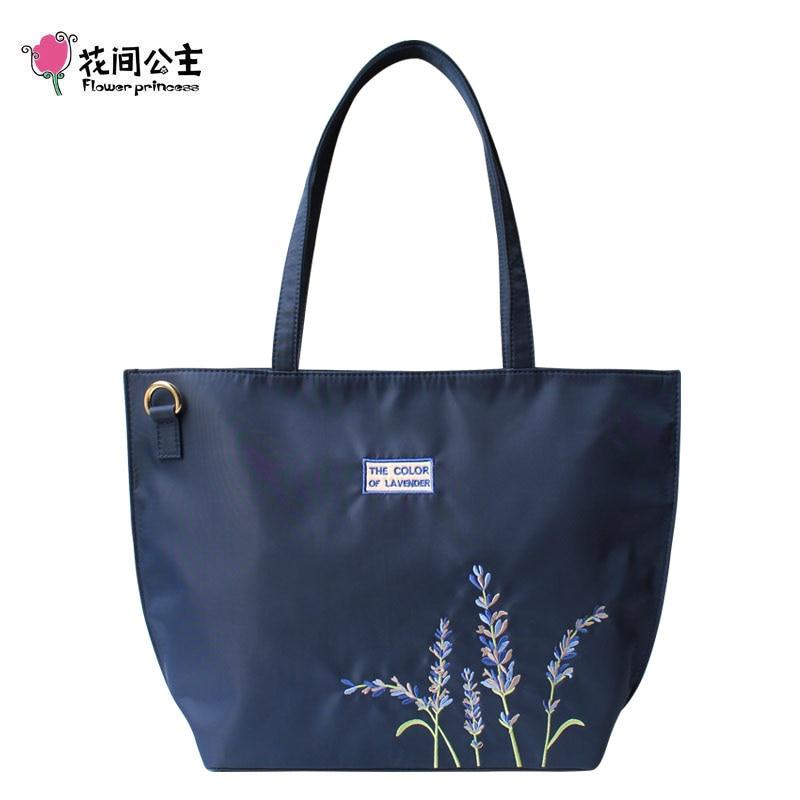 Flower Princess Nylon Embroidery Lavender Large Tote Bag Shoulder Bag Women Handbag Crossbody Bags Teenage Girls Ladies Hand Bag embroidery detail tote bag