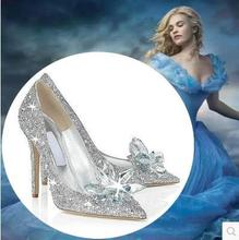 2015 Cinderella glass slipper with money pointed high-heeled leather fine with rhinestone sequins glass bridesmaid wedding shoes