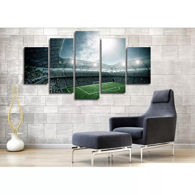 5 Piece Canvas Set Poster Sport Football Field Wallpapers Football Stadium Poster Print on Canvas Modern Wall Art Framed